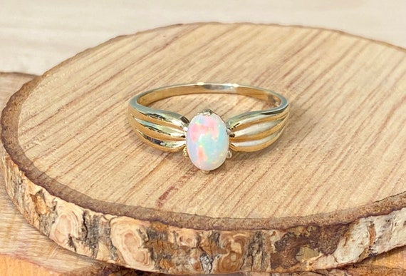 Ethiopian Opal Ring Rose Gold Plated Gold Ring Natural Round Cab Opal Gemstone Artisan Birthstone Ring Sterling Silver Yellow Plated
