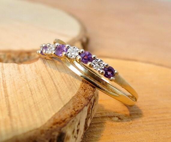 9K yellow gold amethyst and diamond ring