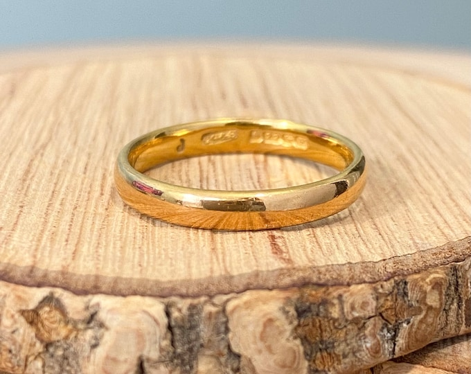 22K Gold ring, Vintage court band made in 1948