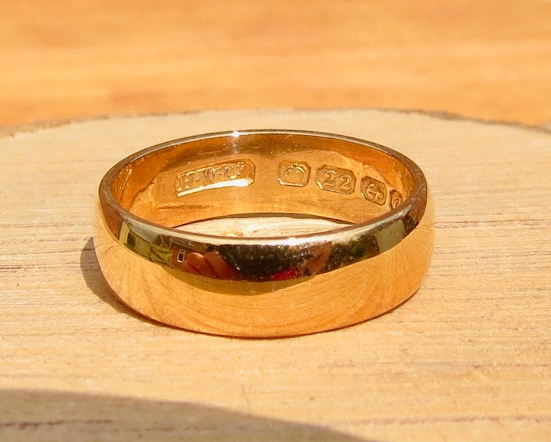 RESERVED for JON layaway 2 Antique 22K yellow wide gold band made in 1903. free resizing