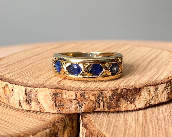 RESERVED for Karaev Gold sapphire ring. 9k yellow gold 2 1/2 carat five stone sapphire ring
