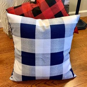 Large Stuffed Dark Blue and White Buffalo Check Cushion