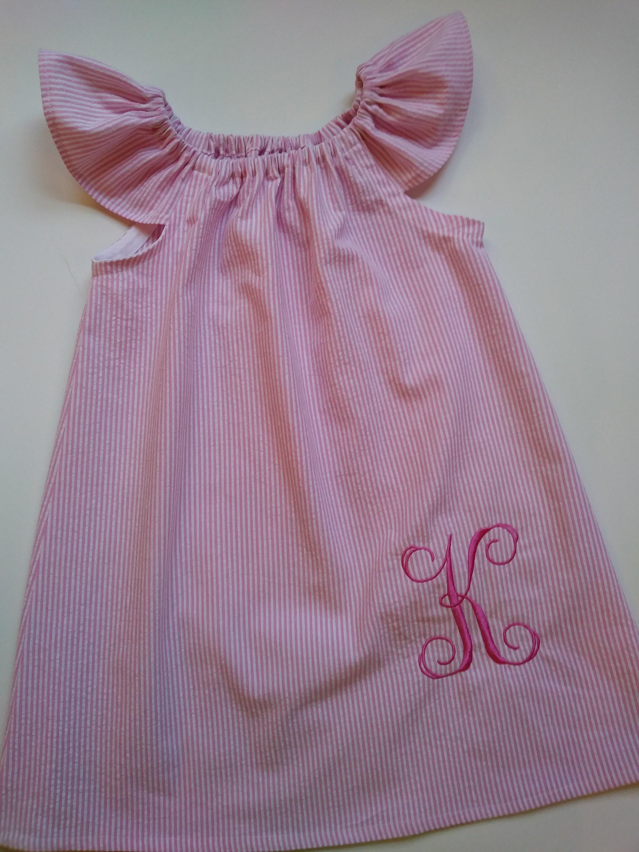 9c8687462 Girls Monogrammed Spring Dress Pink Striped Seersucker Dress
