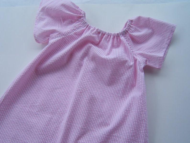 f31b3e23f Girls Monogrammed Beach Dress Pink Striped Seersucker Dress