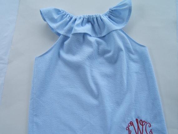 333d9284e Girls Monogrammed Beach Dress Blue Striped Seersucker Dress