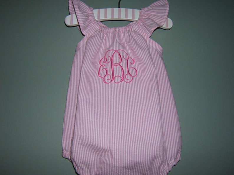 3fdb504f8533 Baby Girl Bubble Romper Monogrammed Flutter Sleeves Pink