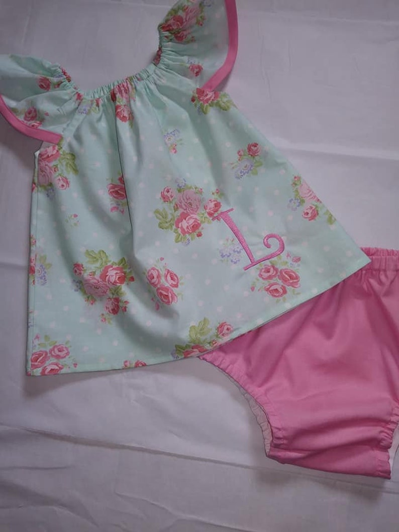 5c318c5f32 Girls 2 Piece Outfit Monogrammed Floral Top Coordinating