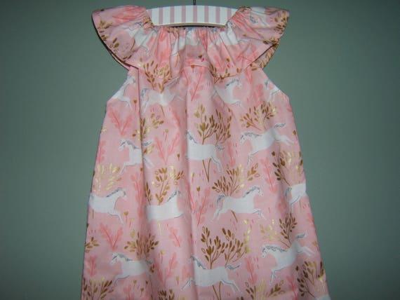 7d444219e Girls Unicorn Birthday Dress Ruffled Neck Dress Easter