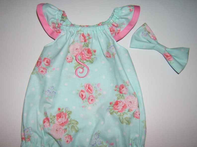 afe9ce4a5 Baby Girl Bubble Romper Monogrammed Flutter Sleeves Easter
