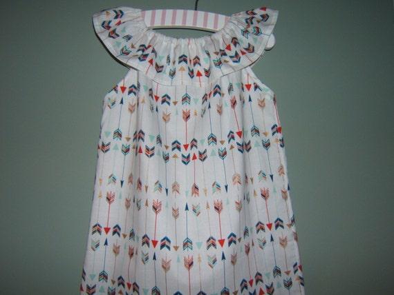 fc2b5e028 Girls Ruffled Neck Dress Peasant Dress Ruffled Collar Arrow