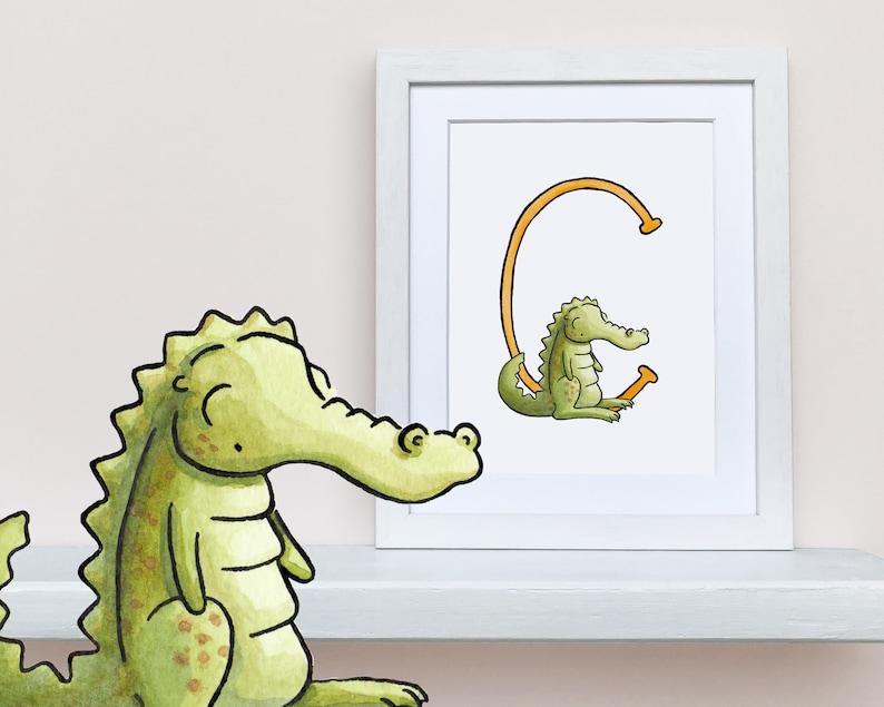 8x10 UNFRAMED print C is for Crocodile personalised nursery wall art Animal Alphabet