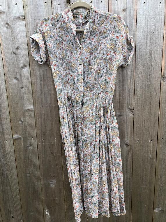 1980s Blue Paisley Floral Print Tie Waist Button Up Collared Shirt Dress 12