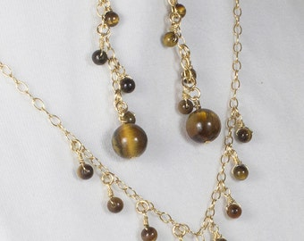Tigers Eye Jewelry Set, Tigers Eye Earring and Necklace Set, 14k Gold Filled, Beaded Jewelry Set