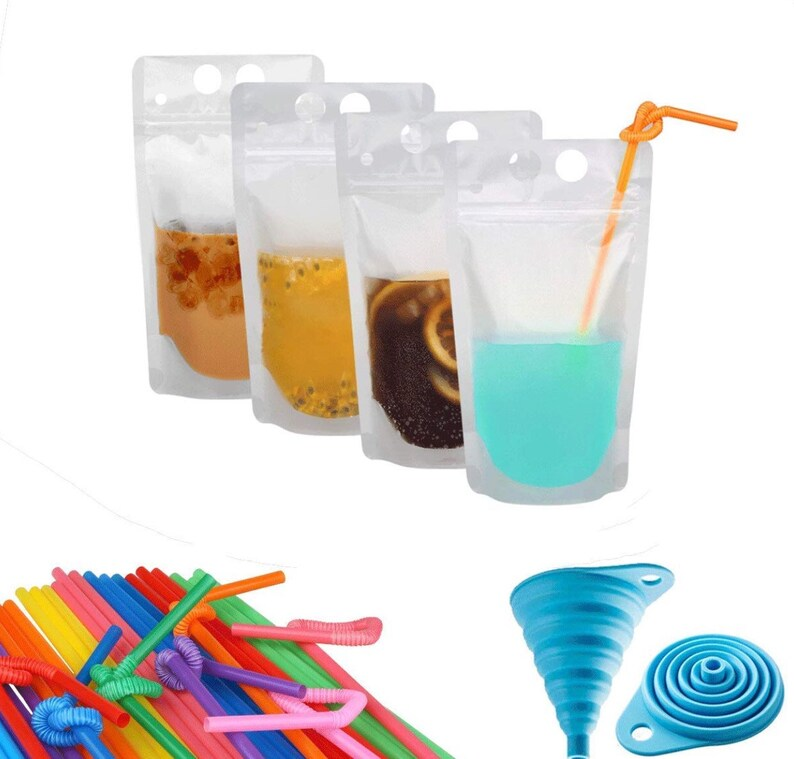9683052ff006 100 Pcs Zipper Plastic Pouches Drink Bags Reusable Kids Lunch Flask Travel  Portable Snacks Verstile BPA Free