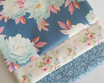 Tilda Fabric FQ Bundle - BLUE FLORALS - Pack of 3 Fat Quarters