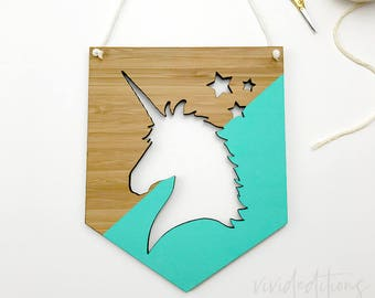 Unicorn Bamboo Wall Plaque, Wooden Wall Flag, Teal Blue Nursery Art, Kids Room Decor, Fairytale Nursery Decor, Whimsical Kids Room Wall Art