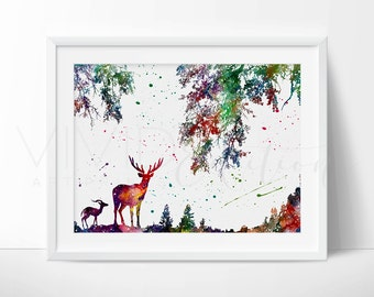 Deer in Nature Watercolor Art Print, Woodland Nursery Art Print Wall Decor, Watercolor Woodland Theme Decor, Home Decor, Not Framed, No. 40