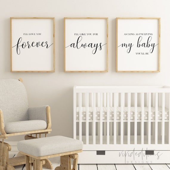 Nursery Decor Set of 3 Prints Nursery Wall Art Nursery | Etsy