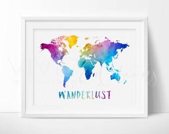 World Map Art, Trending Art, World Map Print, Wanderlust Print, Travel Quote Poster, Watercolor Map Art, Home Decor, Wall Art, Not Framed