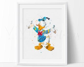 Donald Duck Print, Disney Watercolor Nursery Art Print Wall Decor, Kids Bedroom Wall Art, Birthday Gift, Buy 2 Get 1 Free, No. 257
