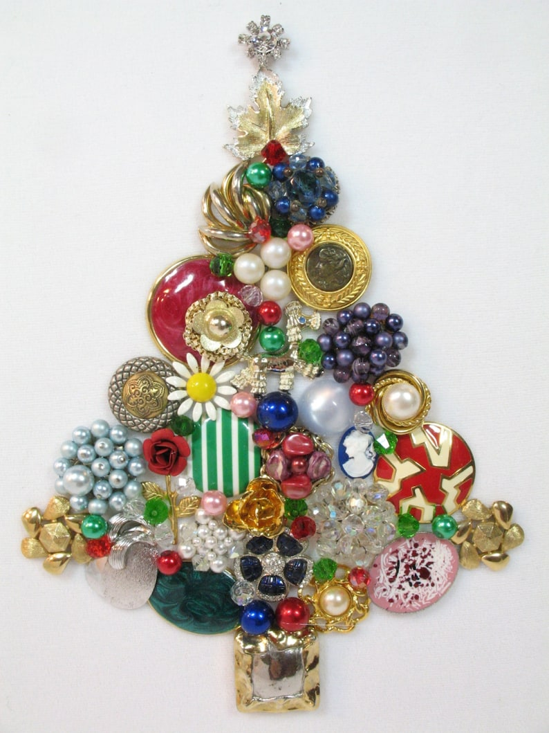 Framed Vintage Jewelry Christmas Tree Joyful By Sunny Day Etsy