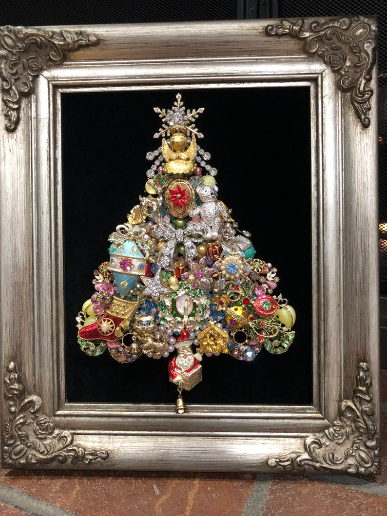 Custom Order Framed Vintage Jewelry Christmas Tree Art 1960s Etsy