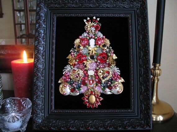 Framed Vintage Jewelry Christmas Tree Valentines Hearts