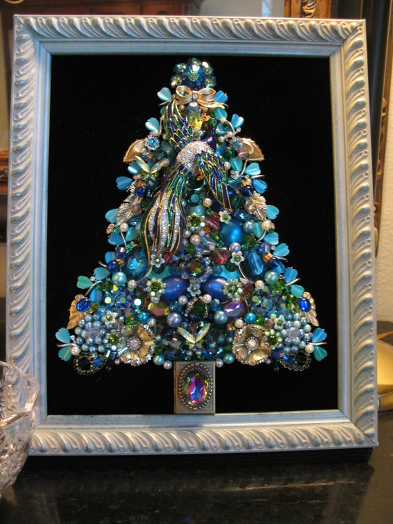 Custom Order Framed Vintage Jewelry Christmas Tree Theme Etsy
