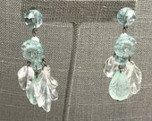 Light aqua transparent lucite chandelier pierced earrings