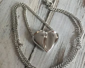 Silver heart necklace avon jewelry adjustable heart slide vintage heart necklace heart pendant simple minimalist puffy heart