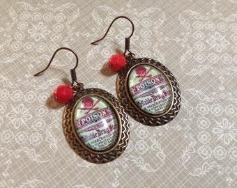 Poison cabochon earrings skull and cross bones green and red earrings halloween earrings vintage poison label earrings