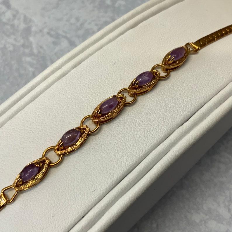 Vintage 90s purple stone herringbone bracelet in gold tone metal