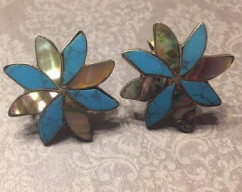 Sterling silver abalone and turqoise flower screwback earrings alpaca jewelry SB star earrings pin wheel turquose earrings shell earrings