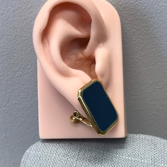 Vintage Post Earrings Gold Toned Rectangle Mottled Pink And Blue Used