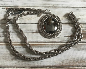 Vintage whiting and Davis hematite pendant necklace with twisted rope chain silver and black whiting and Davis necklace signed designer