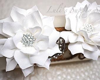 White fabric flower etsy 2 pcs white 3 dahlia kanzashi flowers soft chiffon rhinestones layered fabric flowers embellished flowers hair accessories mightylinksfo