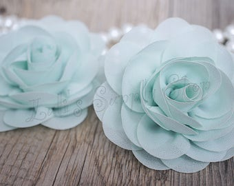 Bulk silk flowers etsy mint chiffon flowers rose silk chiffon flower for headbands wholesale chiffon flowers chiffon roses large fabric flowers mightylinksfo