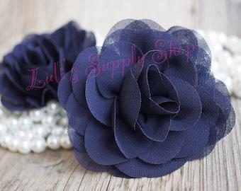 Bulk silk flowers etsy navy blue chiffon flowers rose silk chiffon flower for headbands wholesale chiffon flowers chiffon roses large fabric flowers mightylinksfo