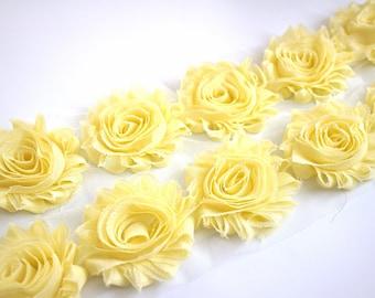 fabric flowers 1.5 Lemon Yellow Shabby Rose Flower Trim 12 yard