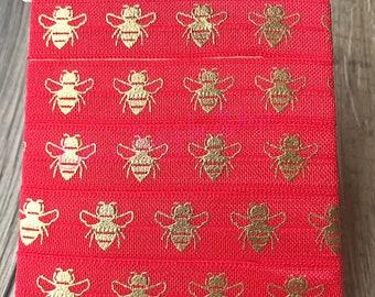 Soft Printed Elastics Bee Print Fold Over Elastic DIY Hair Tie Making Bumble Bee 58 inch FOE Bumblebee Elastic Flat Sewing Supplies