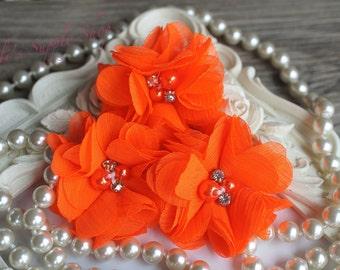 Glow in the Dark Neon Orange Flowers Glitter Resin Barrette