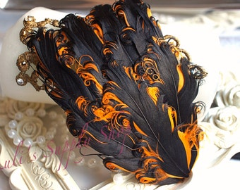 Nagorie Feather Pad Curly Feather Pads  2 Tone Feather Pad Halloween Black & Orange Feather Pad - Hair Accessory Wholesale Headband Supplies