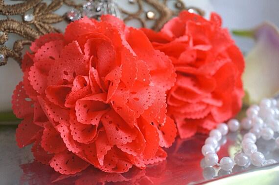 2 Fleur d'oeillet de corail foncé fleur de tissu fleur de Chiffon d'cru d'millésime rose de dentelle fleurs de gros fleur de dentelle