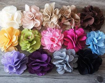 """YOU PICK COLORS Burlap Flowers - Burlap Flower - 3"""" - Burlap Fabric Flower - Burlap Rose - Layered flowers - Wholesale Linen Flowers"""