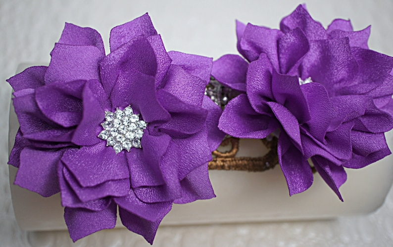 Wholesale Fabric Flowers Embellished Flowers 2 pcs Purple 3 Fabric Poinsettia Flowers Soft Chiffon rhinestones Layered Fabric Flowers
