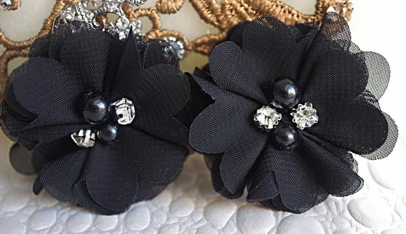 Mini Fabric Flowers Layered small fabric flower - 2 Pearl and Rhinestone center Flowers Set Of 2 Petite Black Chiffon beaded flowers