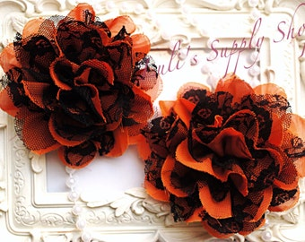 "Set of 2 - Orange and Black 3.75"" Fabric flowers - Lace Flowers Halloween lace flower - chiffon flower - lace rose - Wholesale Fabric flower"