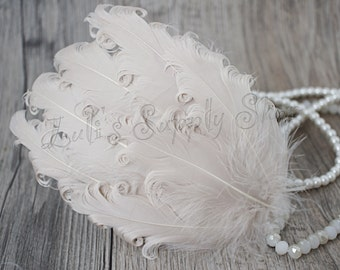 ONE - Cream Nagorie Feather Pad - Curly Feather Pad - Solid Feather Pad - Cream Feather Pad - Hair Accessory Wholesale Headband Supplies