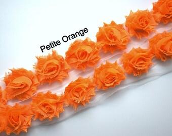 1/2 Yard - Petite Shabby trim - Petite Flower - Petite Shabby by the Yard - Flower Trim - Small shabby trim - Orange Solid Shabby Chic
