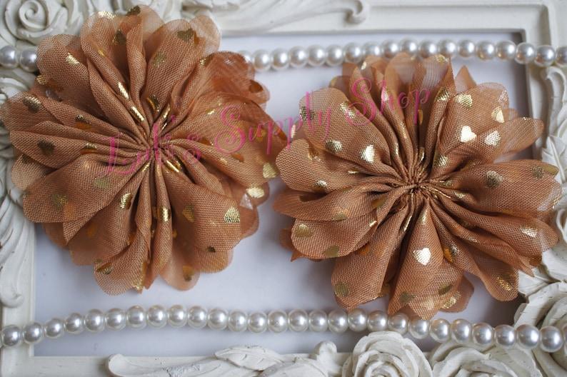 Large Chiffon Unfinished Ballerina Wholesale Fabric Flowers Tan /& Gold Hearts Scalloped Chiffon Flowers Ruffle Fabric Flowers
